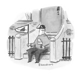 Man on the front stoop of his house with flag, sweatshirt and cap that say… - New Yorker Cartoon Premium Giclee Print by Danny Shanahan