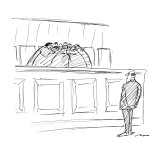 The Supreme Court huddles behind a bench while a man waits before them. - New Yorker Cartoon Premium Giclee Print by Al Ross