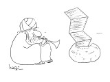 Indian snake charmer's playing causes fax paper to rise up in the air. - New Yorker Cartoon Premium Giclee Print by Arnie Levin