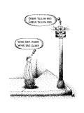 "Man thinking ""Work. Eat. Sleep."" and traffic light thinking ""Green. Yellow… - New Yorker Cartoon Premium Giclee Print by James E. Kirchman"