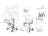 Two robots serving drinks at a party;one is taking a secretive drink in th… - New Yorker Cartoon Premium Giclee Print by Donald Reilly