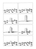 First panels shows a group of little houses. In their midst, a tall buildi… - New Yorker Cartoon Premium Giclee Print by Anthony Taber