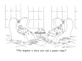 """The kingdom is down four and a quarter today."" - New Yorker Cartoon Premium Giclee Print by Ed Arno"