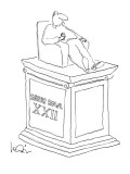 Statue of man sitting in an armchiar with beer and a cigarette with the in… - New Yorker Cartoon Premium Giclee Print by Arnie Levin