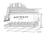 A restaurant in the city; there are words written on the window that read … - New Yorker Cartoon Premium Giclee Print by Mick Stevens