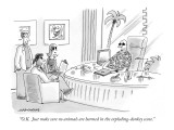 """""""O.K.  Just make sure no animals are harmed in the exploding-donkey scene.…"""" - New Yorker Cartoon Premium Giclee Print by Mick Stevens"""