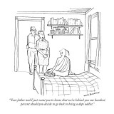 """""""Your father and I just want you to know that we're behind you one hundred…"""" - New Yorker Cartoon Premium Giclee Print by Nick Downes"""