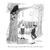 """Have you any regrets, Captain Hale?  Our readers would like to know."" - New Yorker Cartoon Premium Giclee Print by J.B. Handelsman"