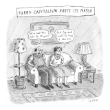 "Turbo-Capitalism Meets Its Match'  Couple refuse to buy new couch.Man says…"" - New Yorker Cartoon Premium Giclee Print by Roz Chast"