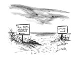 Two signs on a beach that are pointed in opposite directioins; one sign re… - New Yorker Cartoon Premium Giclee Print by Donald Reilly
