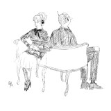 with seats facing opposite directions - New Yorker Cartoon Premium Giclee Print by Everett Opie