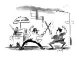 Shish-kabob vendor fences with billy-club wielding policeman. - New Yorker Cartoon Premium Giclee Print by Donald Reilly