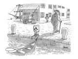 Sailor with a wooden leg, in colonial times, leaves his row boat tied up t… - New Yorker Cartoon Premium Giclee Print by Jack Ziegler