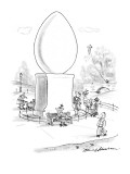 Huge egg monument in the middle of park where birds walk around like peopl… - New Yorker Cartoon Premium Giclee Print by Bernard Schoenbaum
