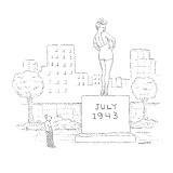 "A man stands gazing at a large outdoor statue of Betty Grable in a bathing…"" - New Yorker Cartoon Premium Giclee Print by Robert Mankoff"