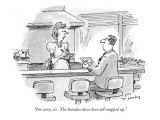 """""""I'm sorry, sir.  The hotcakes have been all snapped up."""" - New Yorker Cartoon Premium Giclee Print by Mike Twohy"""