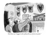 """And that one I tagged with a flamethrower from ten yards."" - New Yorker Cartoon Premium Giclee Print by Harry Bliss"