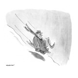 Man sliding down snowy hill on briefcase. - New Yorker Cartoon Premium Giclee Print by James Stevenson