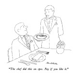 """The chef did this on spec.  Pay if you like it."" - New Yorker Cartoon Premium Giclee Print by Stuart Leeds"
