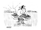 """Two men standing back to back at sunrise, one holding a basket labeled """"To…"""" - New Yorker Cartoon Premium Giclee Print by Mischa Richter"""