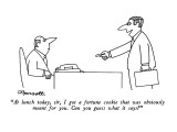 """""""At lunch today, sir, I got a fortune cookie that was obviously meant for …"""" - New Yorker Cartoon Premium Giclee Print by Charles Barsotti"""