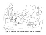 """And do you want your carbons whole, torn, or shredded?"" - New Yorker Cartoon Premium Giclee Print by Ed Arno"