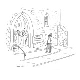 Groom wearing a top hat, pants, suspenders, and no shoes outside church re… - New Yorker Cartoon Premium Giclee Print by Michael Maslin