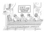 Sign above a group of hardhatted workers making widgets on assembly line r… - New Yorker Cartoon Premium Giclee Print by Mick Stevens