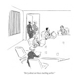"""""""Sorry about our knees touching earlier."""" - New Yorker Cartoon Premium Giclee Print by Nick Downes"""