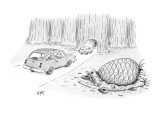 Huge pine cone has crushed car in Sequoia National Park. - New Yorker Cartoon Premium Giclee Print by Christopher Weyant
