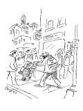 Delivery man pushing handtruck down street has a sign on his back that rea… - New Yorker Cartoon Premium Giclee Print by Sidney Harris