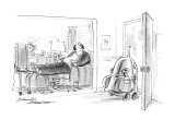 Angry-looking robot, with suitcases in hand, rushes out of door while slov… - New Yorker Cartoon Premium Giclee Print by Bernard Schoenbaum