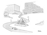 Sign at entrance to corporate offices reads, 'All Eggs One Basket World He… - New Yorker Cartoon Premium Giclee Print by Jack Ziegler