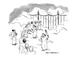 Line of people waiting at gates of Heaven as angel scalpers try to sell th… - New Yorker Cartoon Premium Giclee Print by Paul Karasik