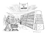 Little Dutch boy at supermarket holds his finger against a bottle, in the … - New Yorker Cartoon Premium Giclee Print by Bill Woodman
