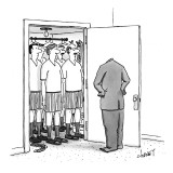 Empty suit opens closet full of men in underwear. - New Yorker Cartoon Premium Giclee Print by Tom Cheney