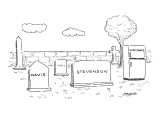 Graveyard with two headstones labeled, 'Davis', and Stevenson.' The third … - New Yorker Cartoon Premium Giclee Print by Robert Mankoff