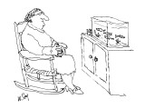 Woman sitting in rocking chair looking at fish in tank. - New Yorker Cartoon Premium Giclee Print by William Steig