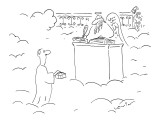 Man at Pearly Gates offers box of pastries to St. Peter. - New Yorker Cartoon Premium Giclee Print by Arnie Levin