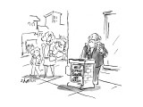 Santa in street clothes rings bell, stands behind faux-chimney which says … - New Yorker Cartoon Premium Giclee Print by Sidney Harris