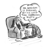 A dog thinks of his old master's future obituary: 'Mr. Dennison is survive… - New Yorker Cartoon Premium Giclee Print by Lee Lorenz