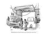 """""""Wendel found an Israeli tomato stuck in your front water hose."""" - New Yorker Cartoon Premium Giclee Print by George Booth"""
