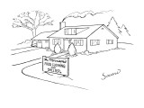 Picture of house with a sign in front of it that reads,'The Morrisons Food… - New Yorker Cartoon Premium Giclee Print by Charles Sauers