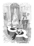 Men at club sit in dollar-sign-shaped love seat sofa. - New Yorker Cartoon Premium Giclee Print by Bernard Schoenbaum