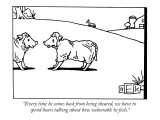 """Every time he comes back from being sheared, we have to spend hours talki…"" - New Yorker Cartoon Premium Giclee Print by Bruce Eric Kaplan"