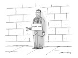 Unshaven man on street, in suit with tin cup in hand, and sign around his … - New Yorker Cartoon Premium Giclee Print by Mick Stevens
