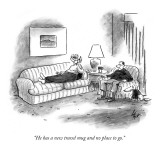 """""""He has a new travel mug and no place to go."""" - New Yorker Cartoon Premium Giclee Print by Frank Cotham"""