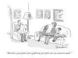 """""""And this is your father's first girlfriend, just before she was stoned to…"""" - New Yorker Cartoon Premium Giclee Print by Danny Shanahan"""