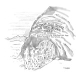 "Sign above cavern entrance into Hades reads: ""Abandon all hope, Ye Who Ent… - New Yorker Cartoon Premium Giclee Print by Robert Mankoff"