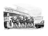 "Men with camels going through tolls with Hummus, Falafel, and Pita"". - New Yorker Cartoon Premium Giclee Print by Warren Miller"
